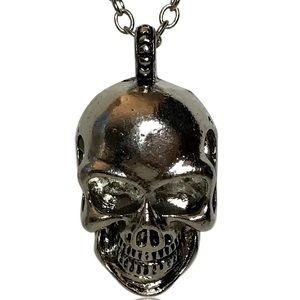 Gothic Punk Smiling Skull Pendant Necklace